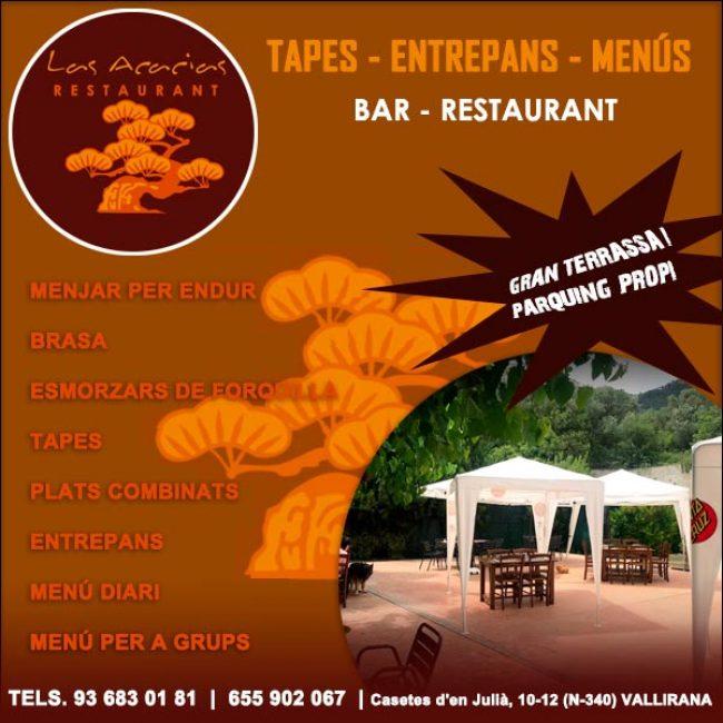 Vallirana Tapes Menú Bar Restaurant Las Acacias