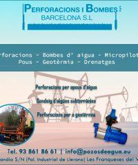 Pozos Pous Perforacions Perforaciones Bombes Barcelona